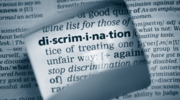 A dictionary with the word discrimination highlighted