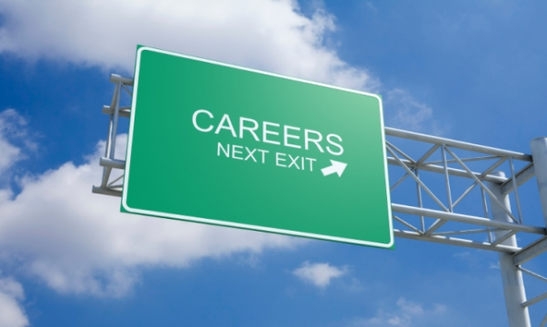 Road sign saying Careers next exit