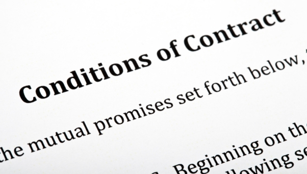 A close up of a 'Conditions of Contract' letter.