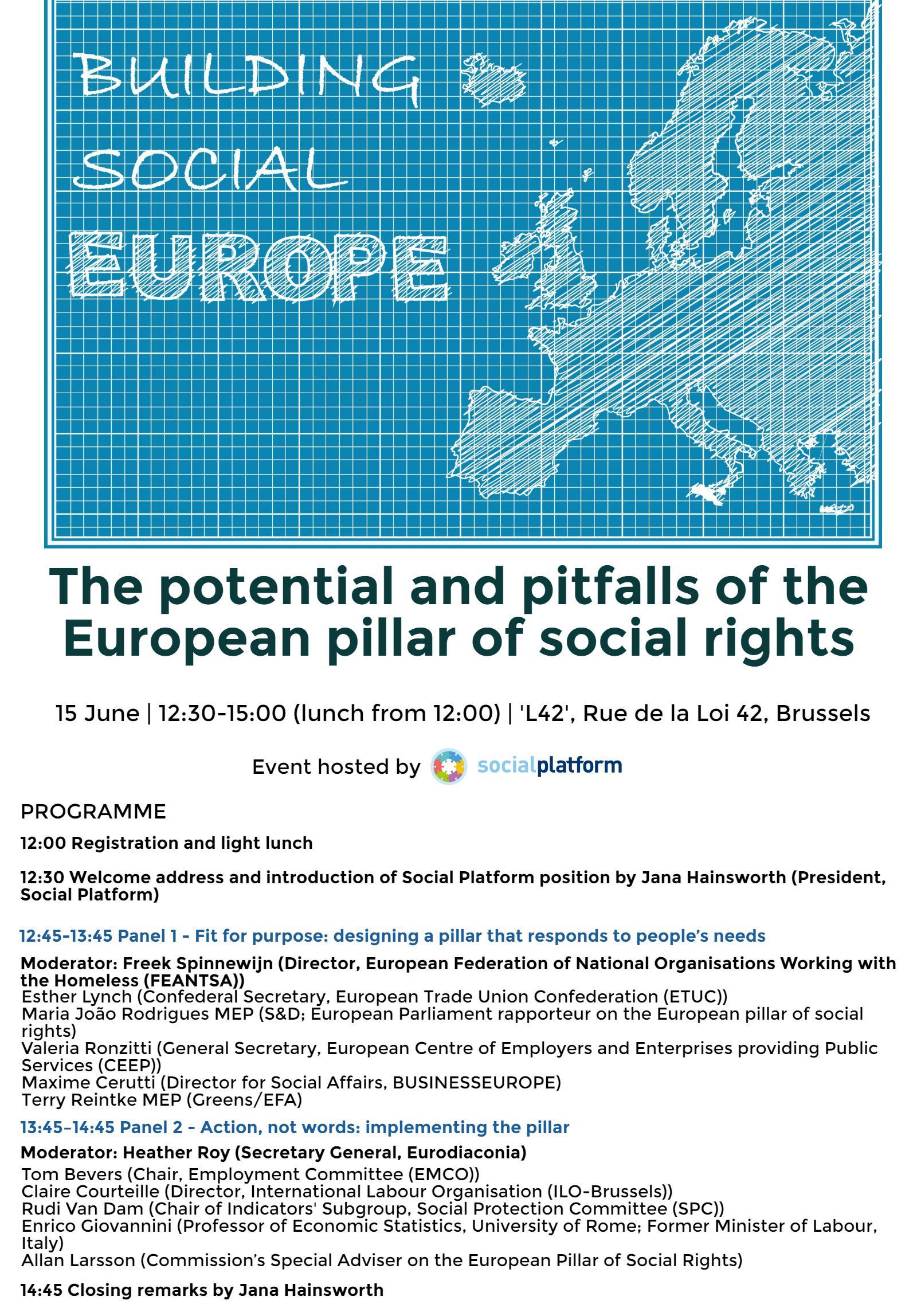 Agenda - Social Platform event - Building Social Europe 15.06.16